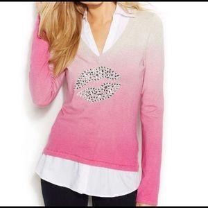INC Pink Ombre Sweater w/ Rhinestone Lips